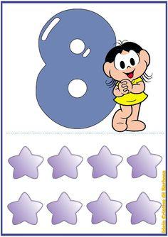 Numerais Turma da Mônica Para Imprimir Grátis Leo, Kindergarten, Illustration Art, Kids Rugs, Education, Math, Learning, Cards, Pints