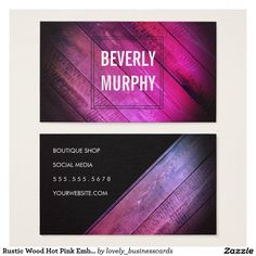 Rustic Wood Hot Pink Embellishment Vignette Business Card #rustic #wood #makeupartist #weddingphotographer #distressedwood #salonowner #woodenboards #pink #interiordesigner #architect #woodcraft #salonmanager #boutiquesalon #barbershopowner