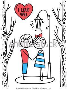 Стоковая векторная графика «Valentines Day Card Lovers Boy Girl» (без лицензионных платежей), 1635295120 Vector Characters, Happy Valentines Day Card, Fictional Characters, Fantasy Characters