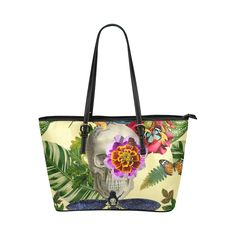 Tropical skull Leather Tote Bag/Small (Model 1651)