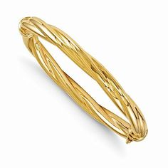 14k 7in Yellow Gold 8.00mm Polished Twisted Hinged Bangle * Continue to the product at the image link.