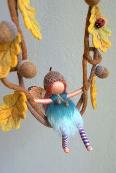 Little camomile flower child Waldorf inspired by byNaturechild......faerie Vylette swinging