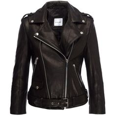 Anine Bing Cropped Moto Jacket (31.620 UYU) ❤ liked on Polyvore featuring outerwear, jackets, tops, leather jackets, black, leather, leather motorcycle jacket, rider jacket, anine bing jacket and 100 leather jacket