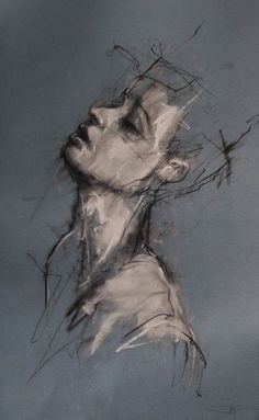 red-lipstick: Guy Denning (b. 1965, Bristol, UK) - Drawing A Day Drawings: Charcoal, Conte on Paper