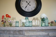 Summer mantle decor - I love the clock! Decorating Blogs, Mantle Decorating, Cottage Decorating, Summer Mantle Decor, Mantle Styling, Fireplace Mantle, Fireplace Ideas, Entry Tables, Table Centerpieces