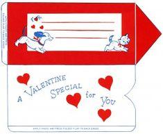 vintage valentine clip art, retro valentine envelope, puppy kitten valentine, printable envelope, old fashioned foldable envelope