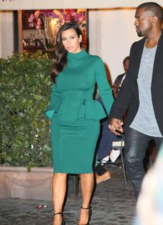 FOUND Kim Kardashian's green peplum dress she wore last night in Italy