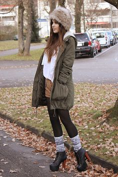 1. knitted shorts, CHICWISH.COM  2. faux fur hat, FUR HATS  3. lita boots, JEFFREY CAMPBELL