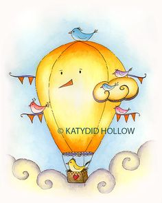 Birds in flight Hot Air Balloon Art Print