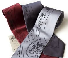 Record Player men's microfiber necktie. Turntable by Cyberoptix