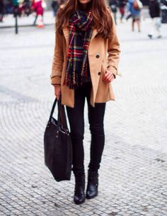 Tan coat, plaid, boots and big bags... Must be winter