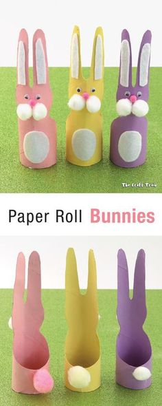 Paper roll bunnies – a fun recycling craft idea for kids #paperrolls #recyclingcraft #eastercraft #bunnies #kidscraft #animalcraft