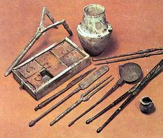 Ancient Egyptian writing instruments.
