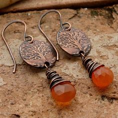 TREE OF LIFE  Carnelian  Handmade Etched by gentlewinddesigns