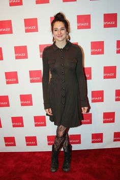 Shailene Woodley : love this outfit- dress, tights, boots, hair...