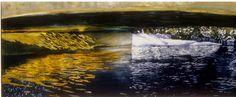 """bridge in winter eramosa river 5 14"""" x 40"""" micheal zarowsky watercolour on arches paper - private collection"""
