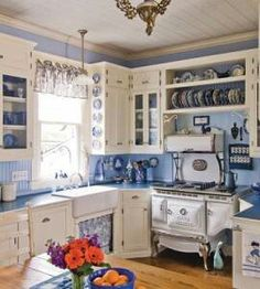 Blue country kitchen & 23 best CoUnTrY kiTcHeNs images on Pinterest | Kitchen dining ...