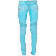 Balmain Washed stretch cotton biker jeans ($985) ❤ liked on Polyvore featuring jeans, pants, bottoms, turquoise, balmain jeans, biker jeans, blue jeans, balmain and zipper jeans