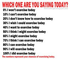 What are you telling yourself on a daily basis about working out? Your words influence your actions, so to change your actions change what you repeatedly say about exercise, healthy eating, weight loss and fitness. Easy Weight Loss, Healthy Weight Loss, Motivational Quotes Tumblr, Personal Trainer Website, Fitness Motivation Quotes, Motivation Pictures, Exercise Motivation, Which One Are You, Gain Muscle