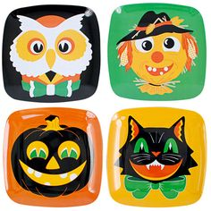 "Vintage Halloween Plate Set $20.  Each plate measures approx 8.5"" x 8.5"".  Made of Melamine, perfect for a vintage Halloween party!"