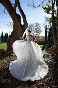 tarik ediz mariée 2015 Oltu off robe de mariée épaule moitié manches corsage de dentelle vue de dos