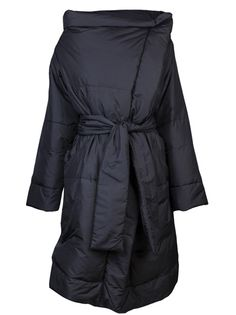 New square puffer jacket in black from Vivienne Westwood Anglomania. This padded jacket features a mandarin collar, a single front snap button closure, long sleeves, side pockets, and a wrap tie with belt loops. Has goose feather filling.
