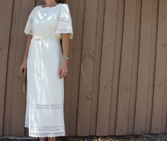 70s Butte Knit cream wedding dress short sleeve lace by gumbygirl