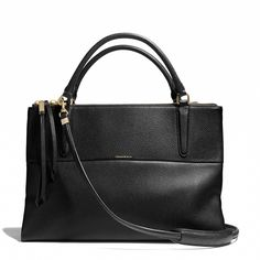 I don't typically care for Coach, but I like this bag.  Power tote!  Coach, The Borough Bag in Pebbled Leather (black), $548.