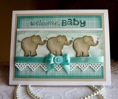 Olena Levchenko: Olena's Place: CottageCutz post - Welcome, BABY card - 7/23/14 (dies: Baby Elephant/ Fance Lace Border)