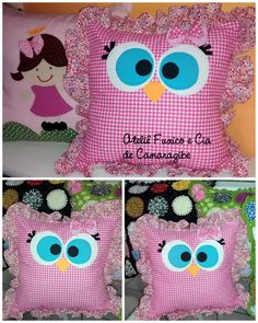 Fabric Toys, Fabric Crafts, Sewing Crafts, Sewing Projects, Owl Pillow, Quilted Pillow, Sewing Pillows, Diy Pillows, Owl Crafts