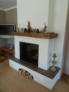 Fireplace Console, Fireplace Hearth, Home Fireplace, Fireplace Remodel, Modern Fireplace, Living Room With Fireplace, Fireplace Design, Living Room Decor, Christmas Fireplace