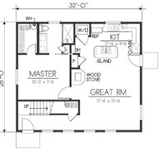 Houseplans.com Main Floor Plan Plan #100-464 (small house - get rid of upstairs, stairway and make bedroom bigger and entry into great room)