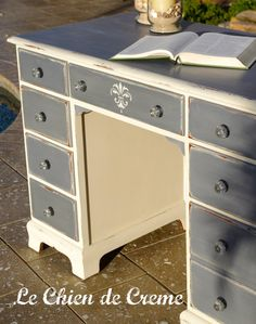 SOLD This desk is hand painted in Annie Sloan Chalk paint-Old White and Old Violet with a touch of silver shimmer found on Etsy under Le Chien de Creme $265