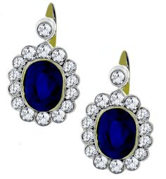Antique 8.32ct Oval Cut Sapphire and 2.40ct Old Mine Diamond 14k Yellow & White Gold Earrings - See more at: http://www.newyorkestatejewelry.com/earrings/victorian-8.32ct-sapphire-2.40ct-diamond-gold-earrings-/22985/5/item#sthash.ijwENAb8.dpuf