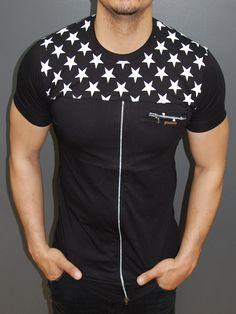 R&R Men Stars Top Front Back Zipper T-shirt - Black