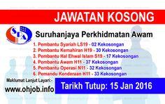 Jawatan Kosong SPA 151 Kekosongan (15 Januari 2017)   Kerja Kosong Suruhanjaya Perkhidmatan Awam (SPA) Januari 2017  Permohonan adalah dipelawa kepada warganegara Malaysia bagi mengisi kekosongan jawatan di Suruhanjaya Perkhidmatan Awam (SPA) Januari 2017 seperti berikut:- 1. Pembantu Syariah LS19 - 02 Kekosongan 2. Pembantu Kemahiran H19 - 30 Kekosongan 3. Pembantu Hal Ehwal Islam S19 - 17 Kekosongan 4. Pembantu Awam H11 - 37 Kekosongan 5. Pembantu Operasi N11 - 32 Kekosongan 6. Pemandu…
