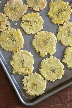 Baked Tostones (Green Plantains) | Skinnytaste | 2 plantains. Just add ...