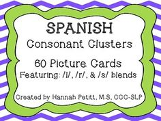 This set contains 60 color picture cards featuring Spanish /l/, /r/, & /s/ blends in the initial and medial positions of words. They can be used in speech-language therapy to help reduce the phonological process of consonant cluster reduction and can serve as a tool to be used in therapy or one that can be sent home for extra practice.