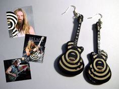 Zakk Wylde earrings guitar  Ozzy Osbourne by nikajon on Etsy