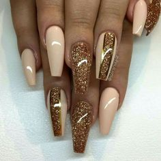 Glossy Nude, Gold, and Glitter Nails