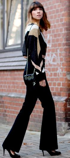 Cats And Dogs Black Flare Pants Fall Streetstyle Inspo by Cats & Dogs