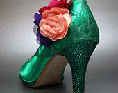 Wedding Shoes -- Emerald Green Platform Peeptoes with Emerald Swarovski Crystals and Colorful Flower Adornment