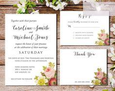 Floral Wedding Invitation Set, Vintage Botanical Invite, Botanical Invitation, Floral Invite, Printable Invitation, Vintage, jadorepaperie
