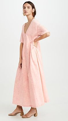 Rachel Comey Cardiff Dress In Sherbert I Dress, Wrap Dress, Rachel Comey, Cardiff, Short Hairstyles For Women, Stretch Denim, Short Hair Styles, Cold Shoulder Dress, Short Sleeves