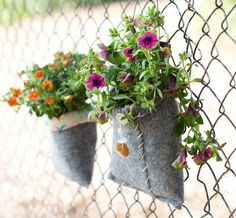 Planters made from old wool sweaters! NICE!
