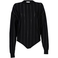 Piece D' Anarchive  Paris Jumper ($330) ❤ liked on Polyvore featuring tops, sweaters, black, bodysuit tops, woolen sweater, jumper top, wool sweater and long-sleeve bodysuits