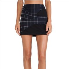 Thakoon Addition navy skirt plaid SZ 6 NWT Ultra soft layered skirt; perfect with a red top for Valentines Day Thakoon Skirts Mini
