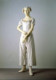 Undergarments from the 1800s | 1834 This ensemble illustrates the items of underwear worn by women in ...