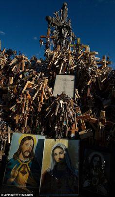 The 'Hill of Crosses' (Krizu Kalnas) near Siauliai, Lithuania, a symbol of hope, strength and spirituality. (Daily Mail)