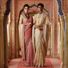 The ladies are wearing luxurious hand-woven organic silk blouses and Benarasi organza sarees with 'tilla'-border detail. The look is… Sabhyasachi Sarees, Sambalpuri Saree, Kanjivaram Sarees, Organza Saree, Ethnic Sarees, Lehenga, Kurti, Sabyasachi Collection, Wedding Saree Collection